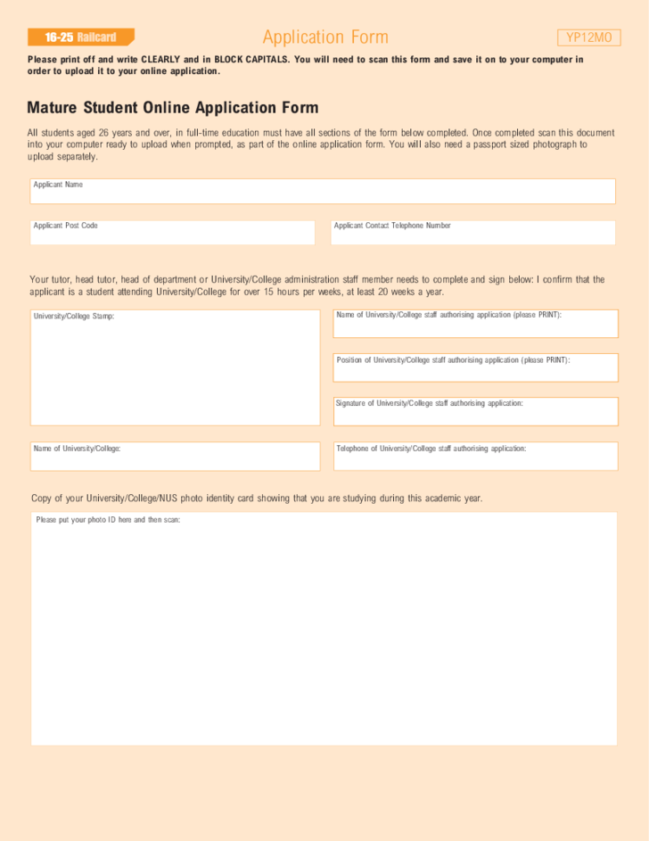 student railcard application sample form free download