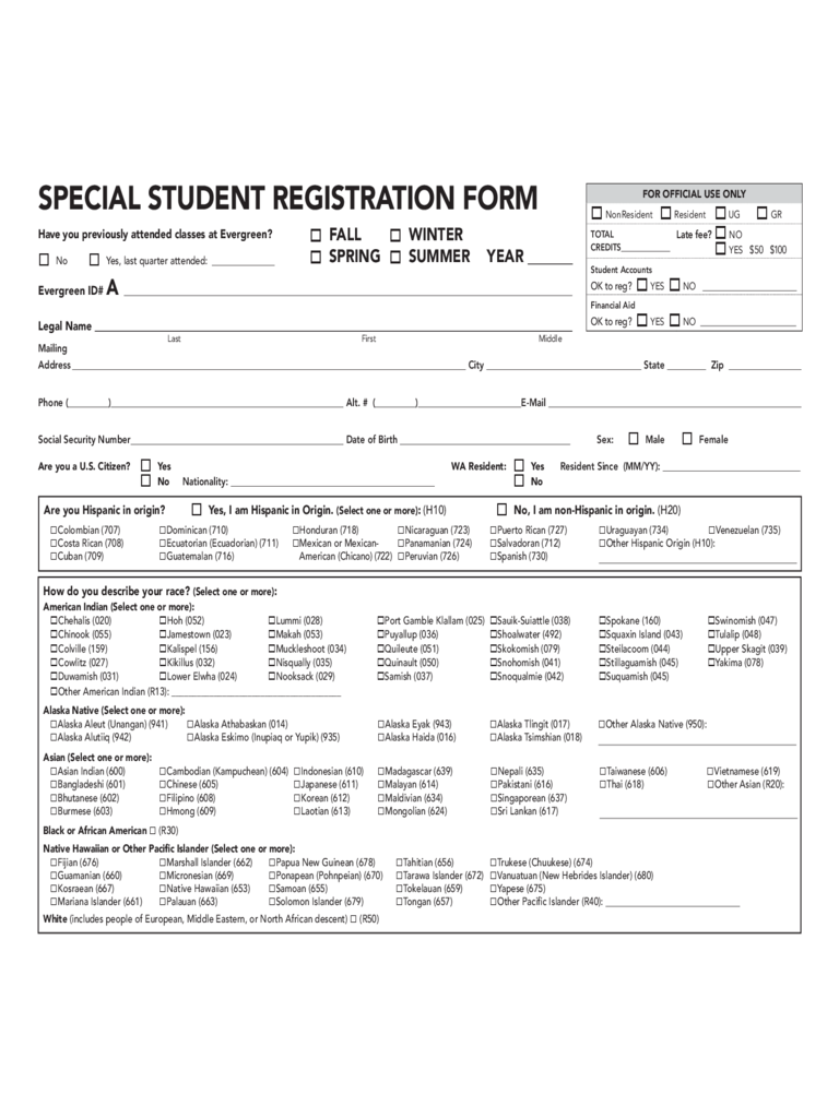 college registration form template