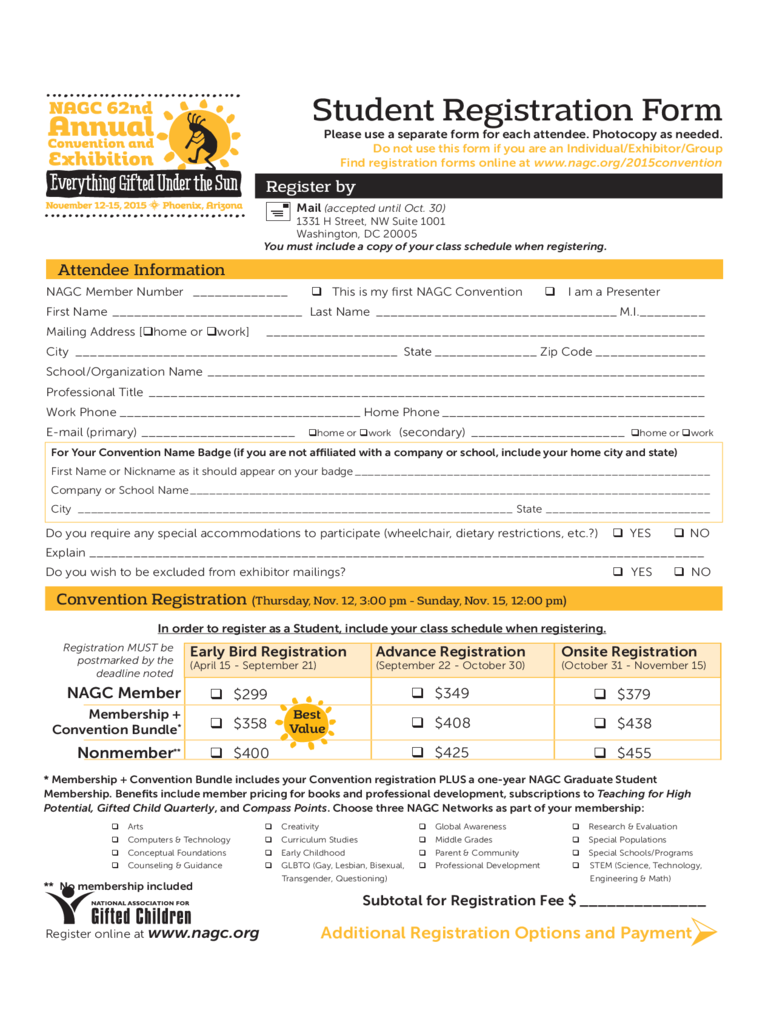 Student Registration Form 5 Free Templates in PDF Word Excel – Student Registration Form Template