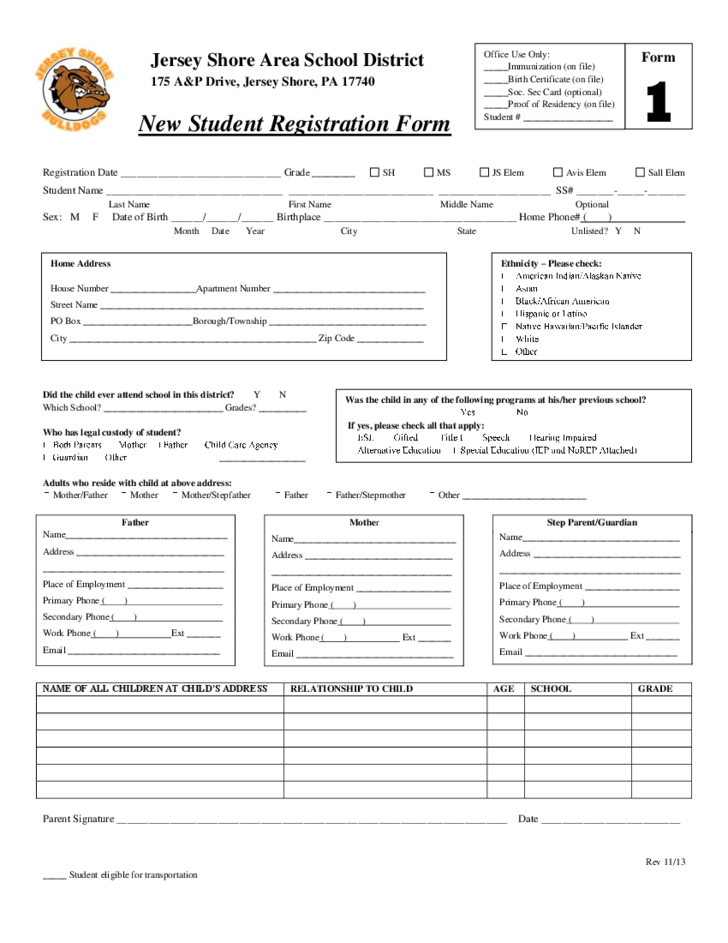 Great 1 New Student Registration Form   Jersey Shore Area School District  Free School Application Form