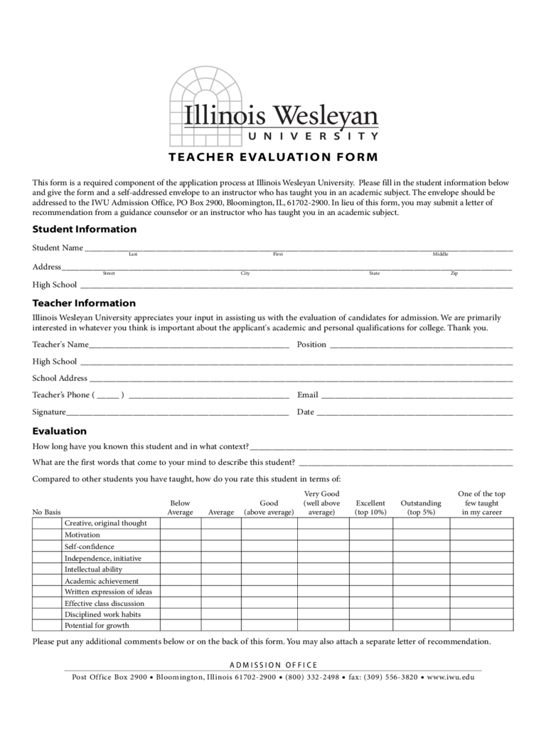 Student Teacher Evaluation Form - Illinois