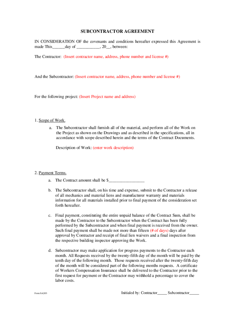 subcontractors agreement template - subcontractor agreement template 2 free templates in pdf