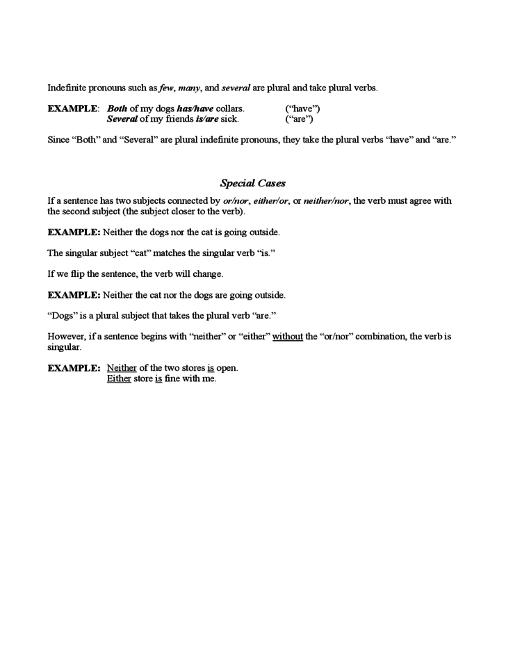Subject Verb Agreement Practice Sample Free Download