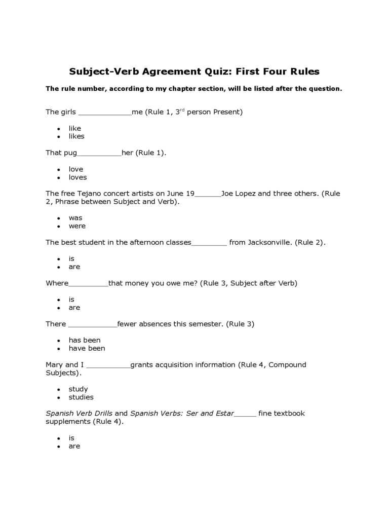 Basic Subject Verb Agreement Quiz