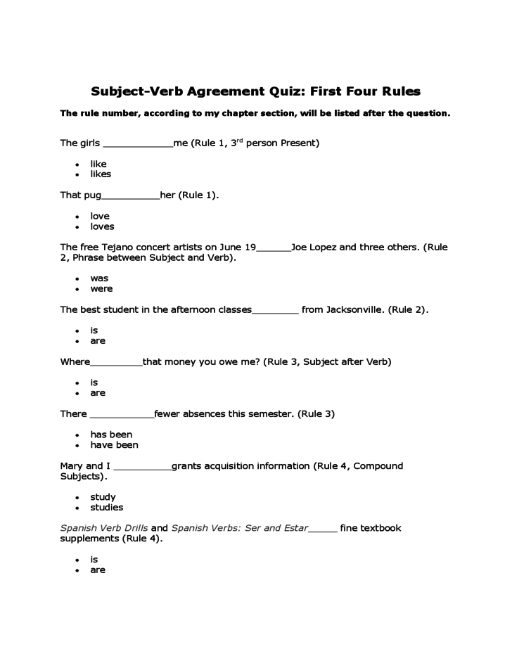 Basic Subject Verb Agreement Quiz Free Download