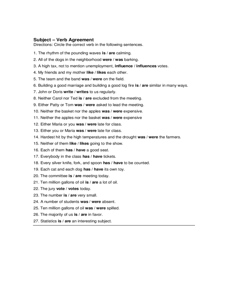 Subject Verb Agreement Quiz Sample Free Download