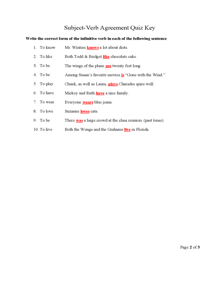 Subject Verb Agreement Quiz Key Free Download