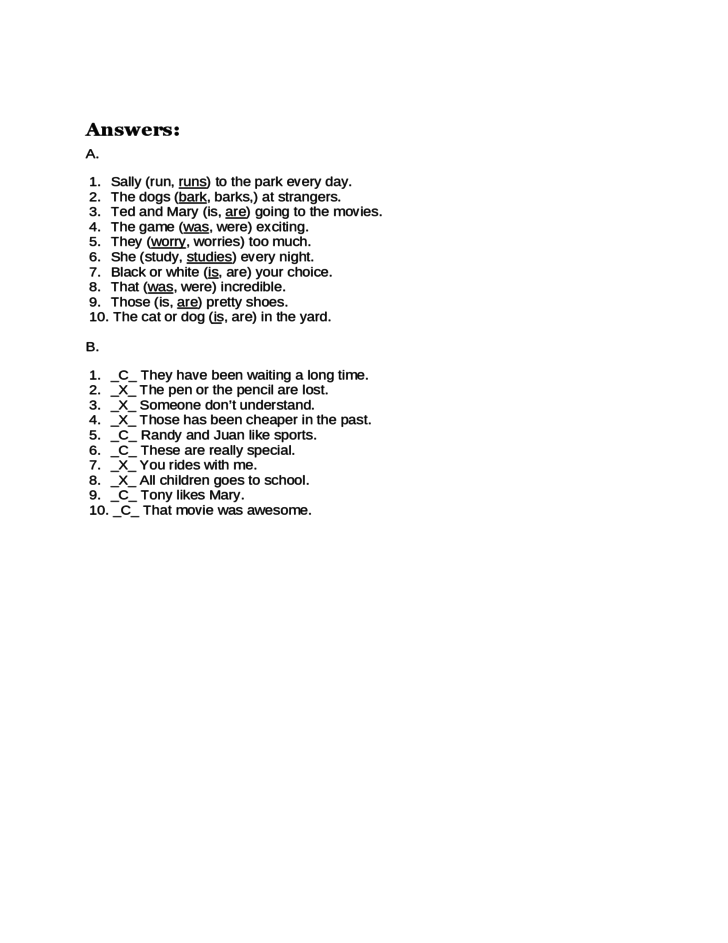 Sample Subject Verb Agreement Quiz Free Download