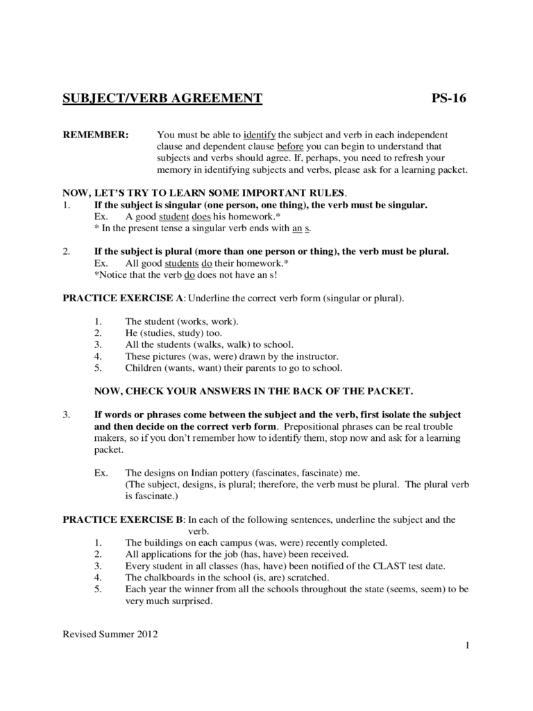 Subject Verb Agreement Worksheets Sample