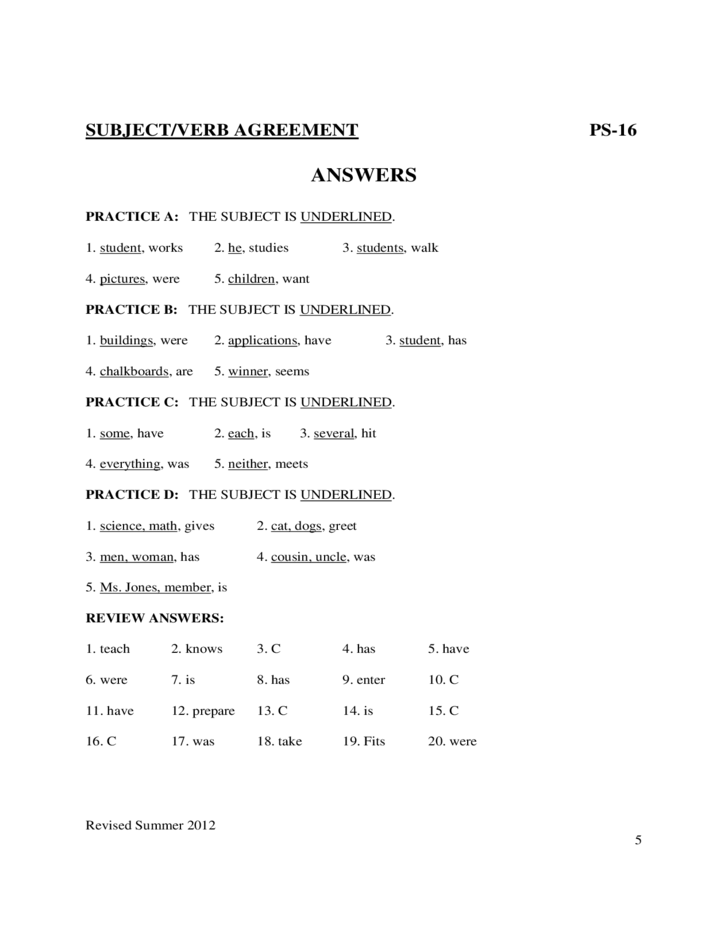 Subject Verb Agreement Worksheets Sample Free Download