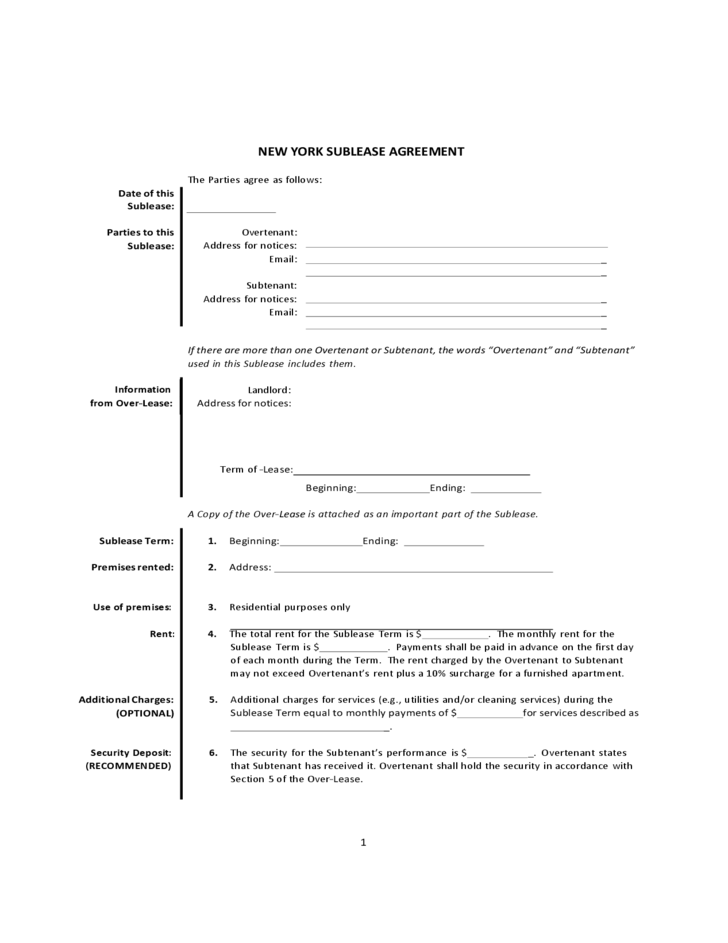 subletting lease agreement template - sublease agreement form newyork free download