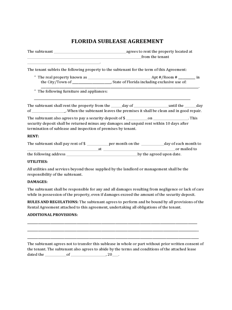 Sublease Agreement Form - Florida