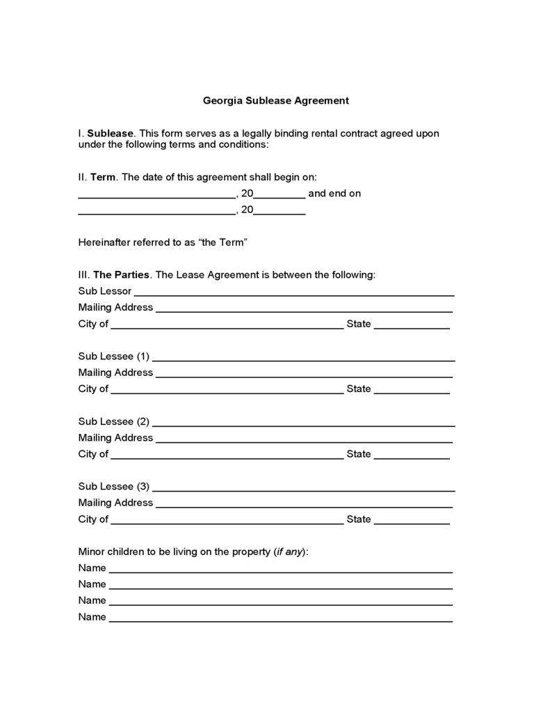 georgia rent and lease template