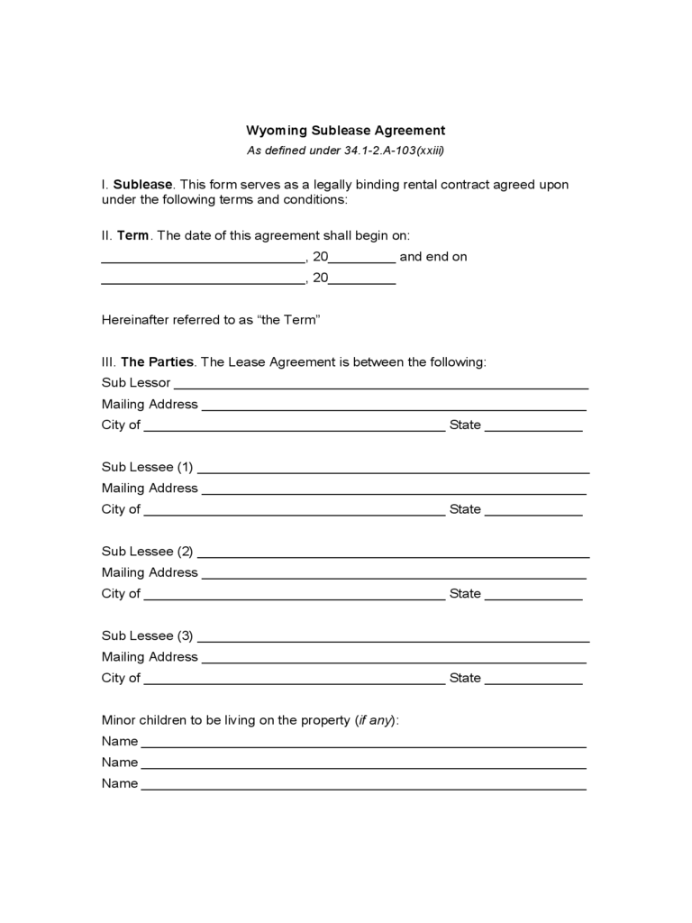 Wyoming Sublease Agreement