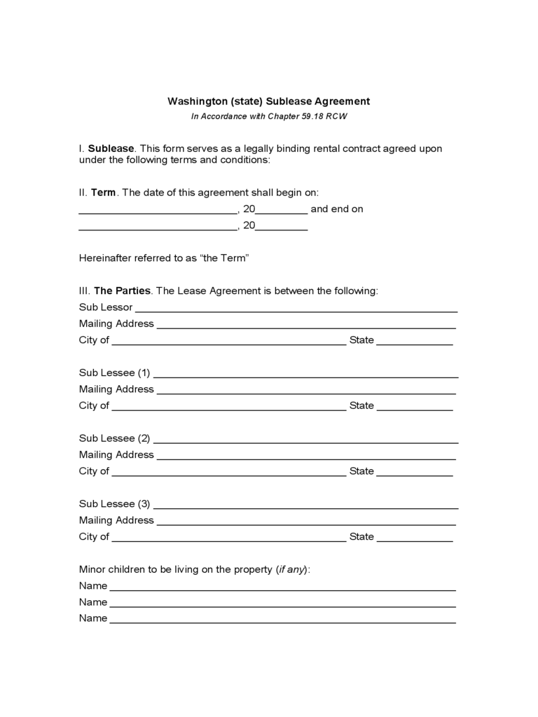Washington Sublease Agreement Form