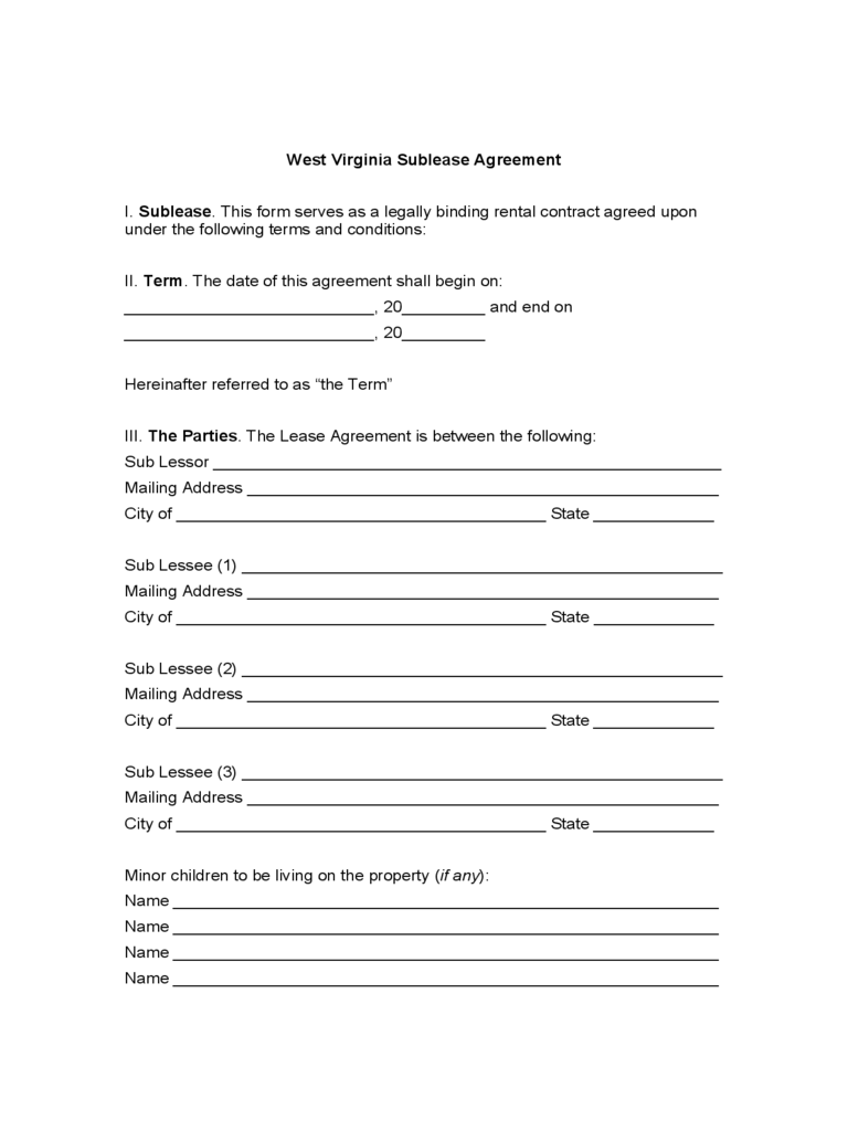 West Virginia Sublease Agreement Form