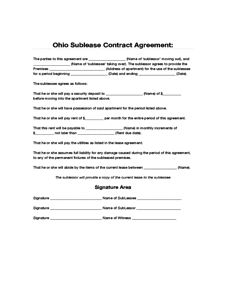 ohio sublease contract agreement free download. Black Bedroom Furniture Sets. Home Design Ideas