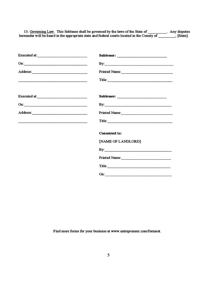 Oregon Sub Lease Agreement Free Download