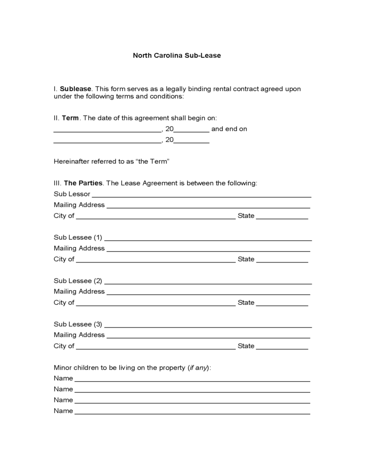 North Carolina Sublease Agreement Free Download