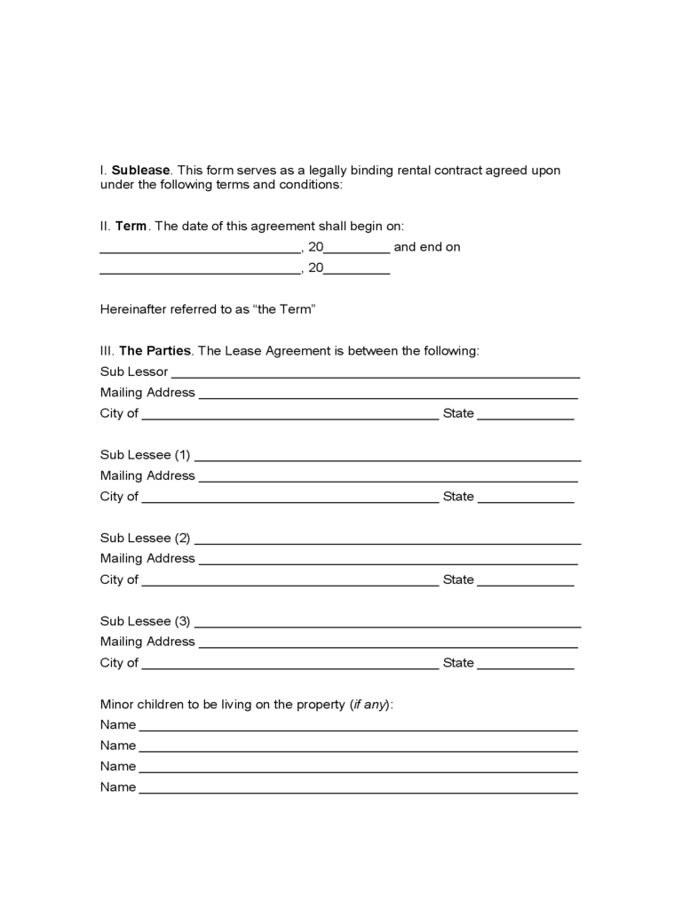 Sublease Agreement Form 104 Free Templates In Pdf Word Excel
