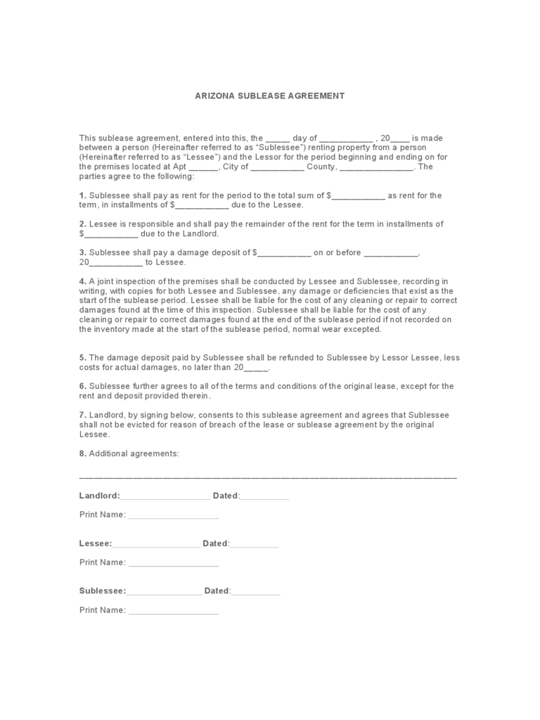 Arizona Sublease Agreement