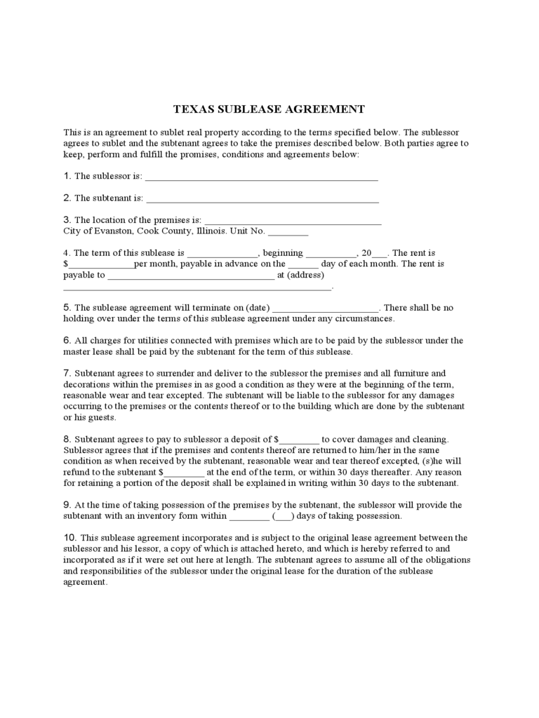Texas Sublease Agreement Form Template