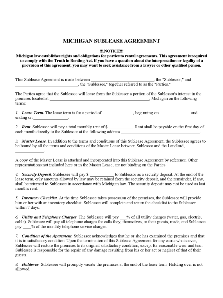 Michigan Sublease Agreement Form