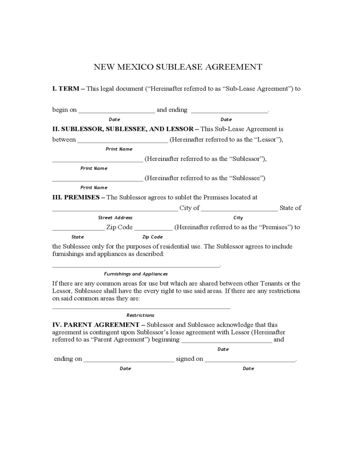 1 New Mexico Sublet Agreement Form