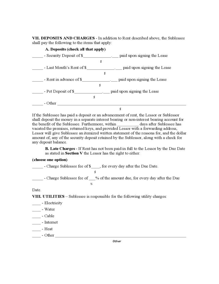 Doc500647 Basic Sublet Agreement Sublease Agreement Form – Sublet Agreements