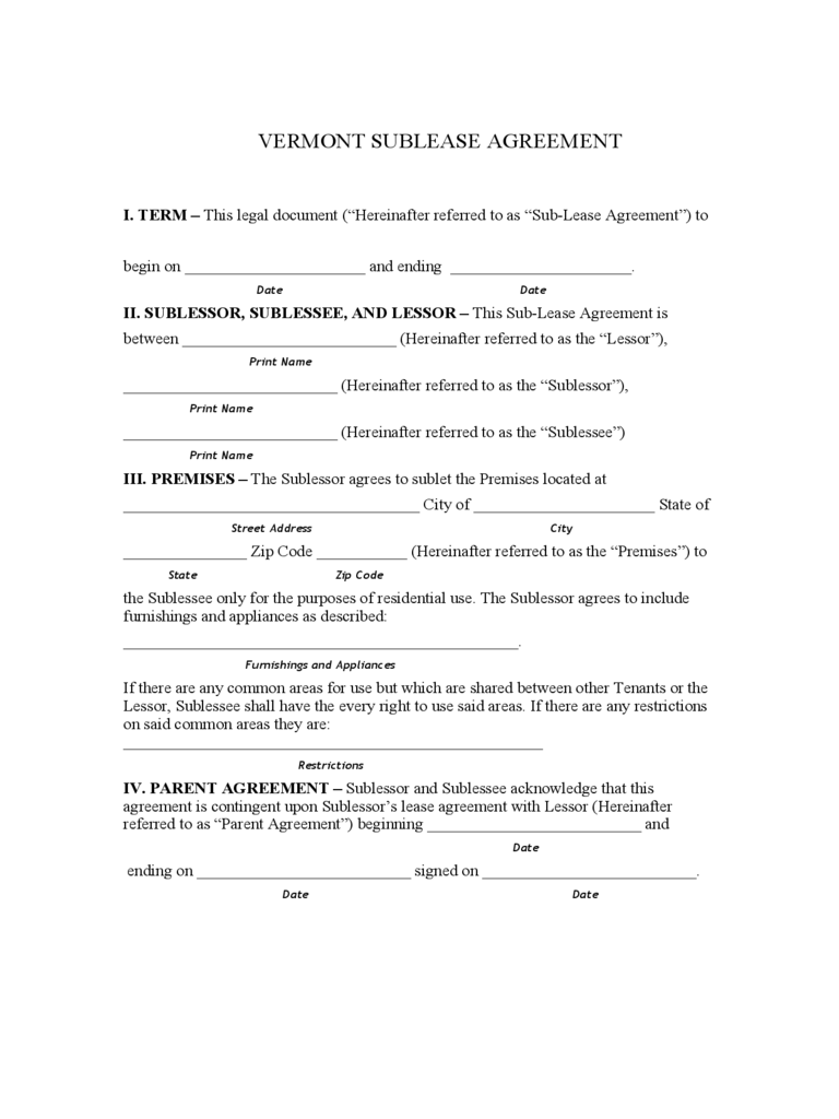 Vermont Sublease Agreement Form