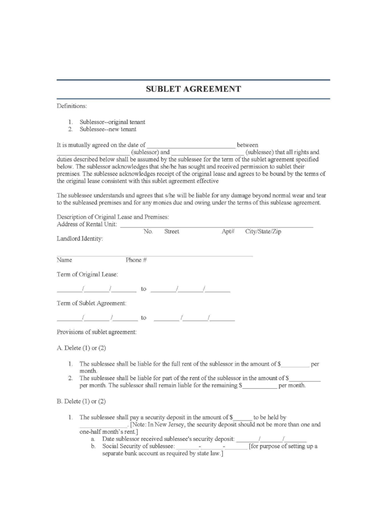 New Jersey Sublease Agreement Form