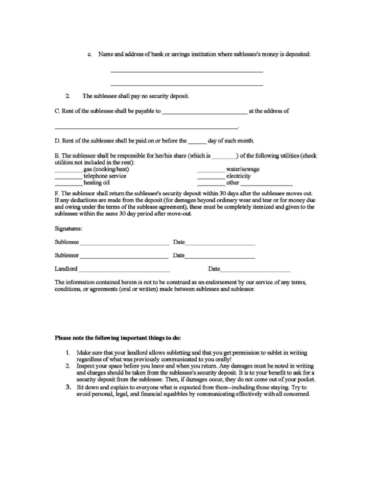 New Jersey Sublease Agreement Form Free Download