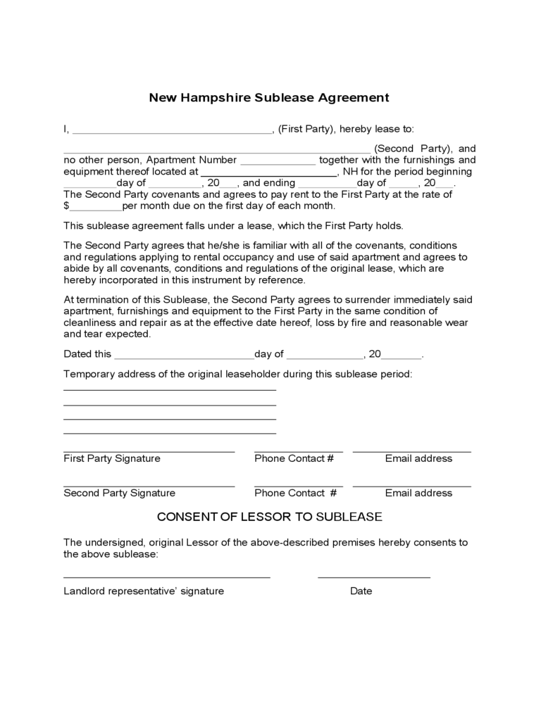New Hampshire Sublease Agreement