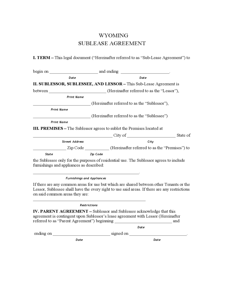 Wyoming Sublease Agreement Form