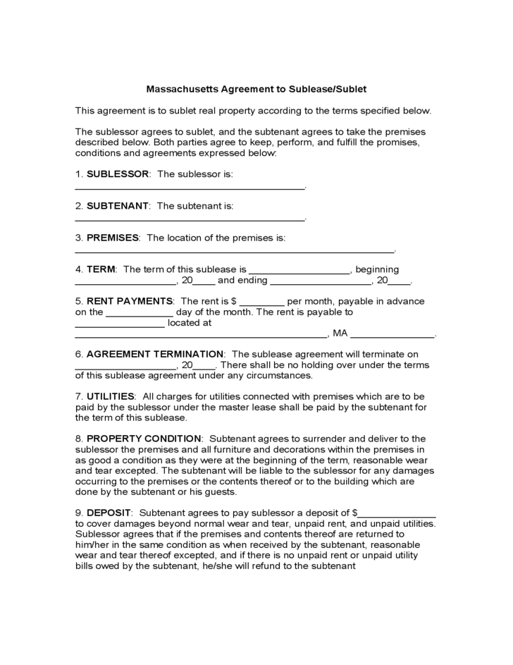Massachusetts Agreement To Sublease Sublet Form Free Download
