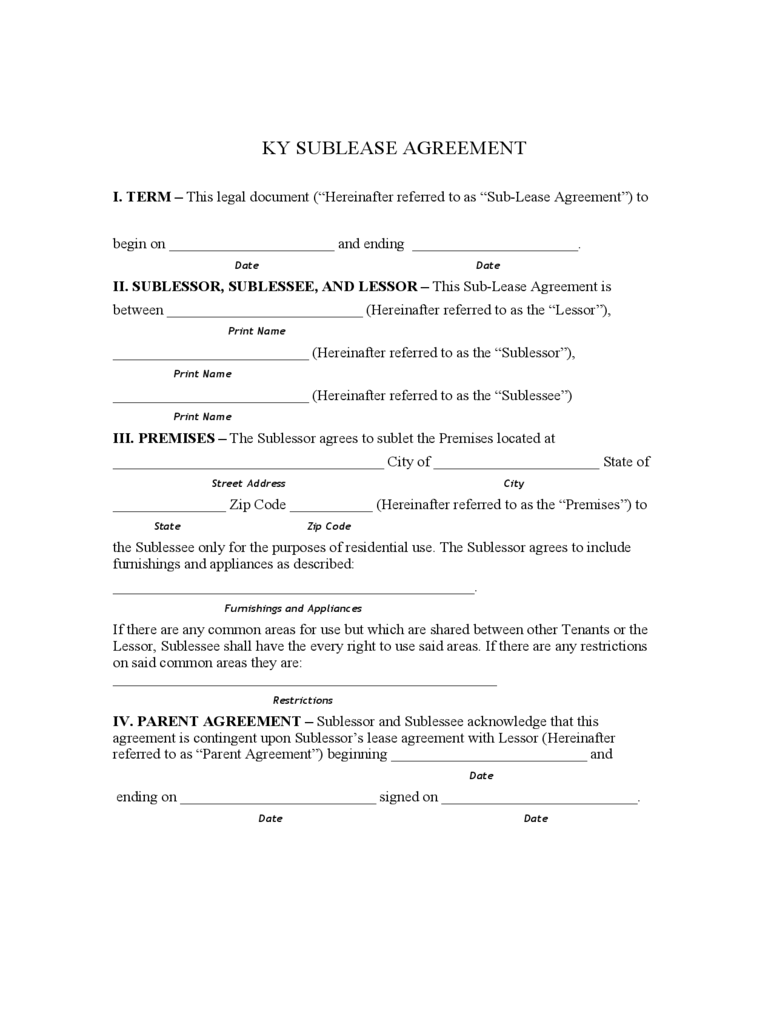 Kentucky Rent And Lease Template Free Templates In Pdf Word
