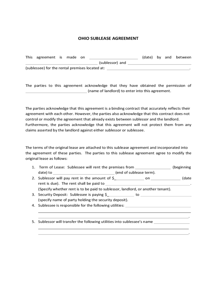 Ohio Sublease Agreement Template Free Download