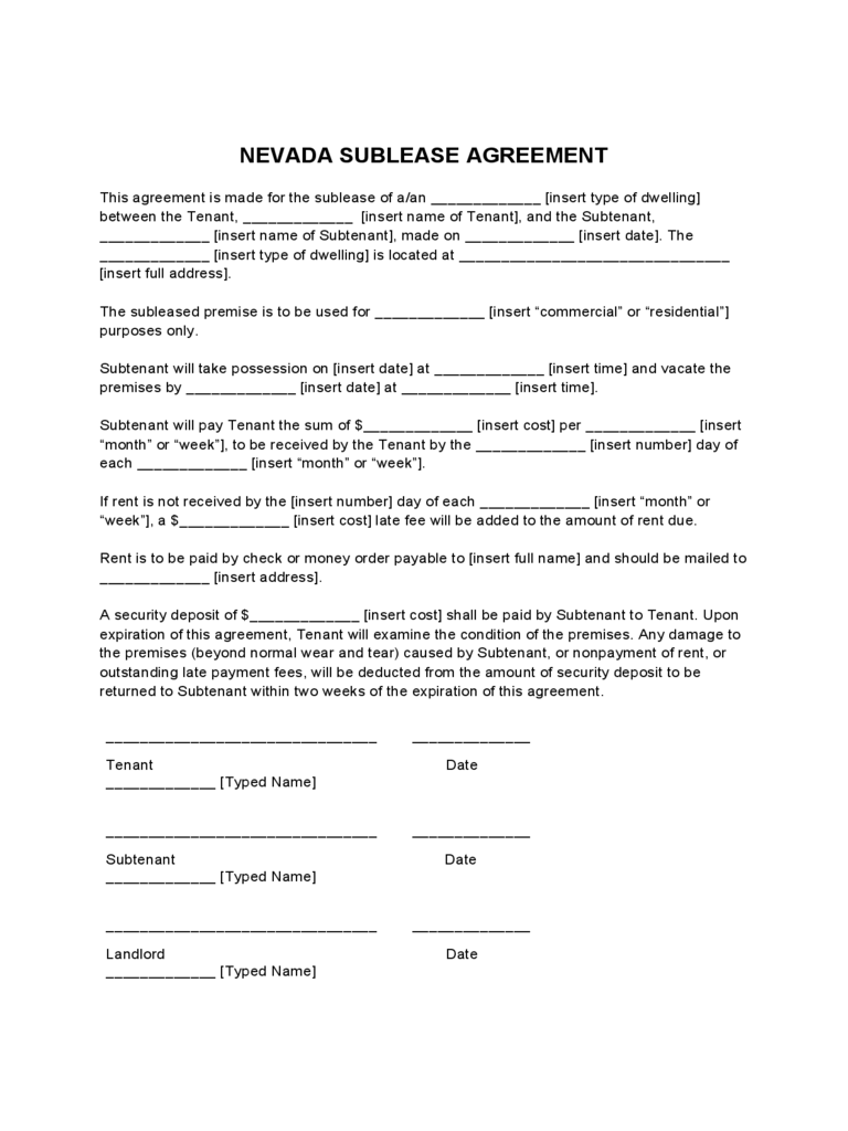 Nevada Sublease Agreement Form