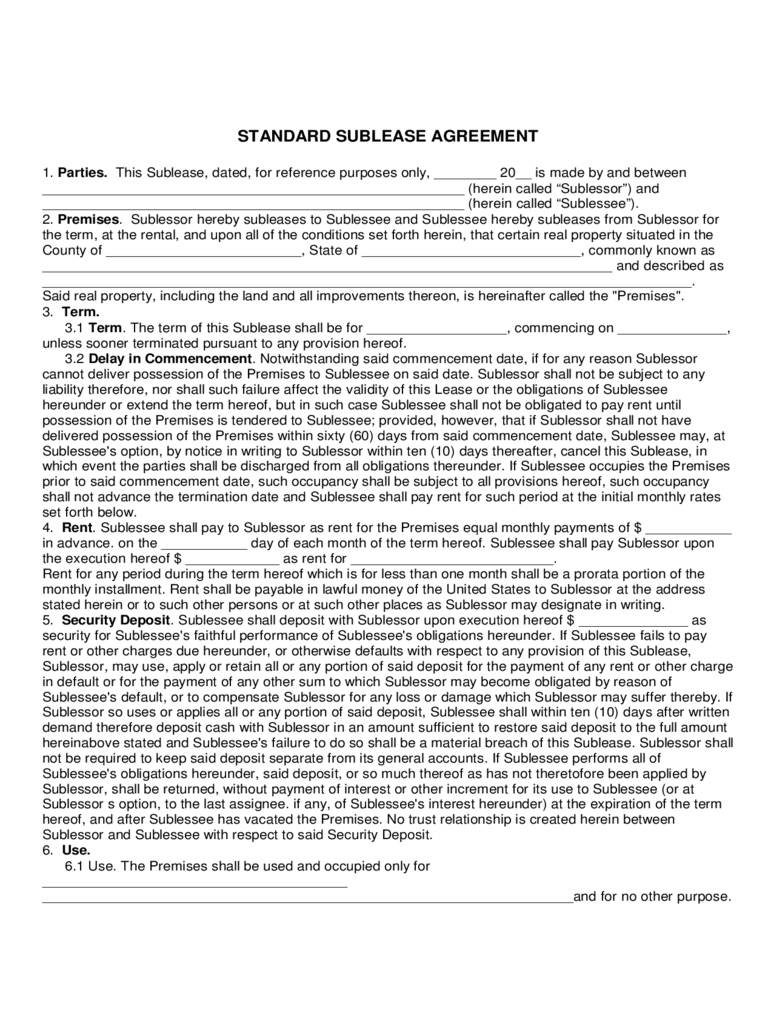 Maryland Standard Sublease Agreement Form