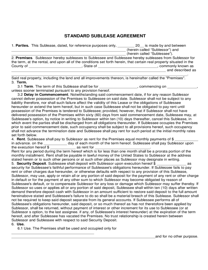 Maryland Standard Sublease Agreement Form Free Download