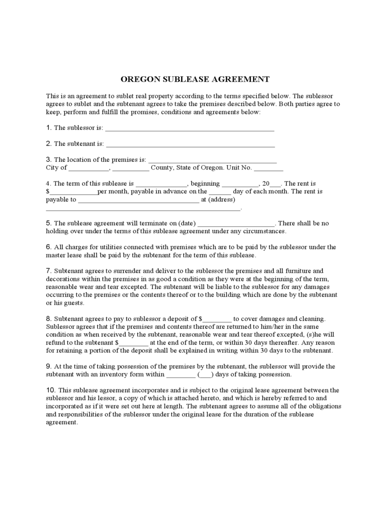 oregon rent and lease template