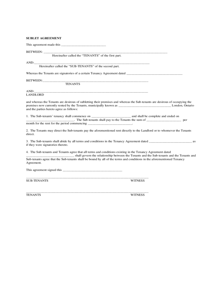 Sublease Agreement Form California Free Download