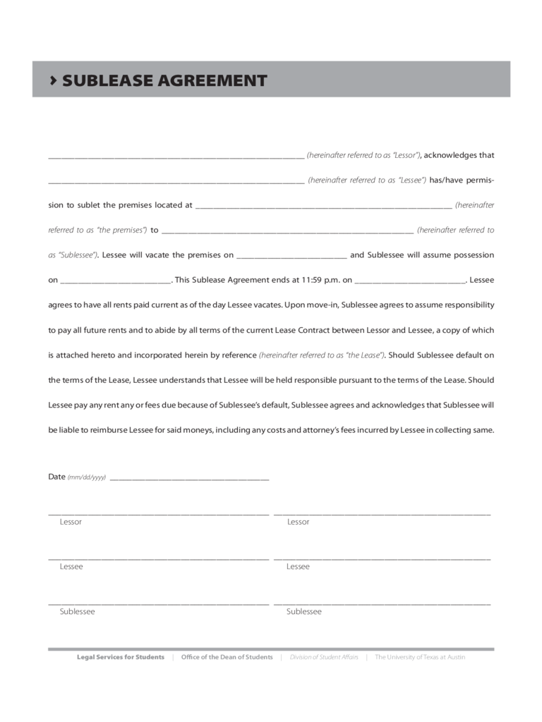 Sublease Agreement Form - Texas