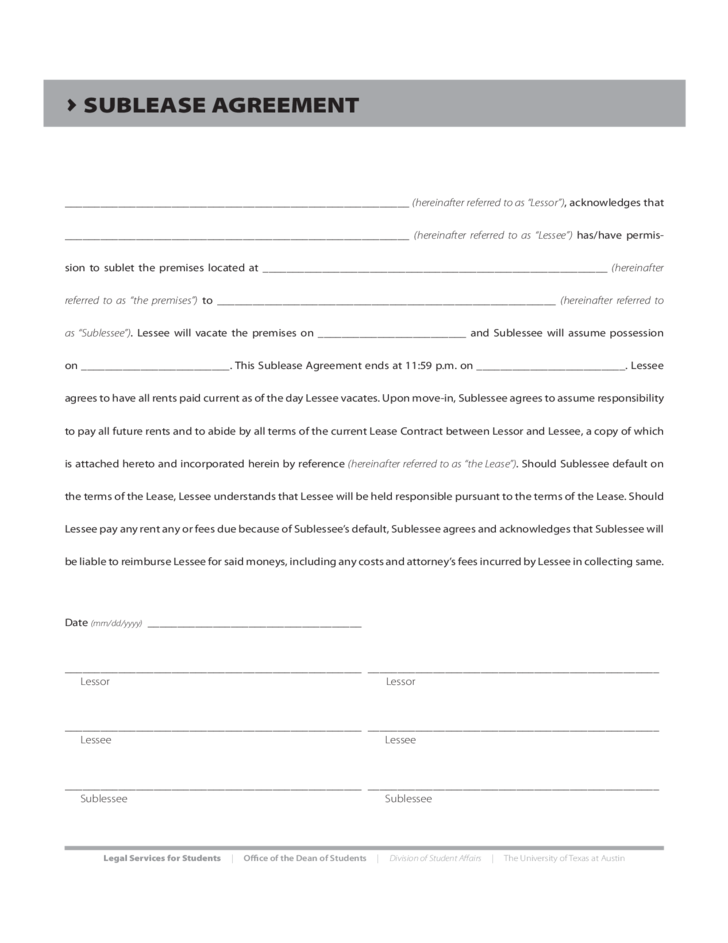 Sublease Agreement Form Texas Free Download
