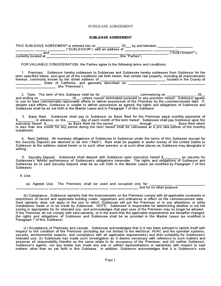 Sublet Contract Form California Free Download