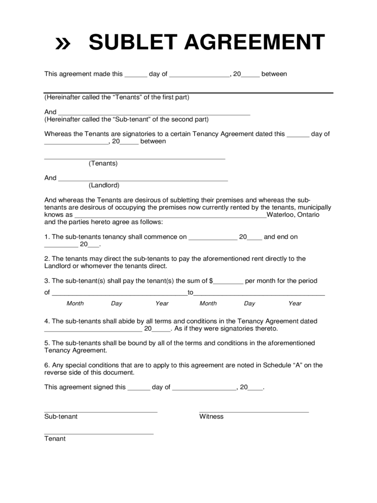 Sublet Contract Form - Waterloo