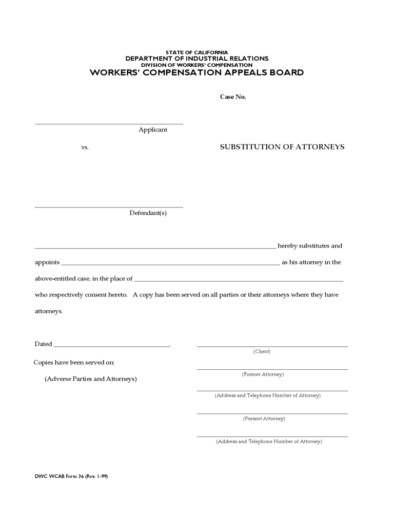Substitution of Attorney Form - California
