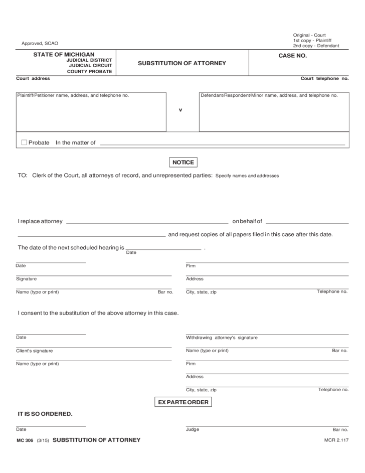 Substitution of Attorney Form - Michigan