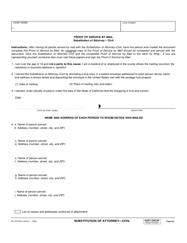 Substitution of Attorney Form - Civil
