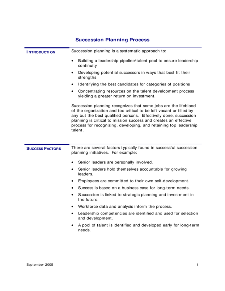 emergency succession plan template - succession planning process template free download